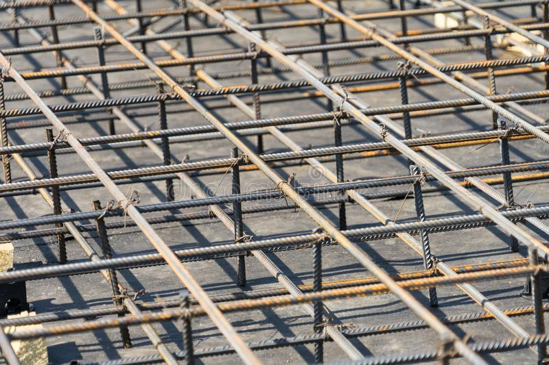 Reinforcement of the Foundation slab before pouring concrete. stock photography