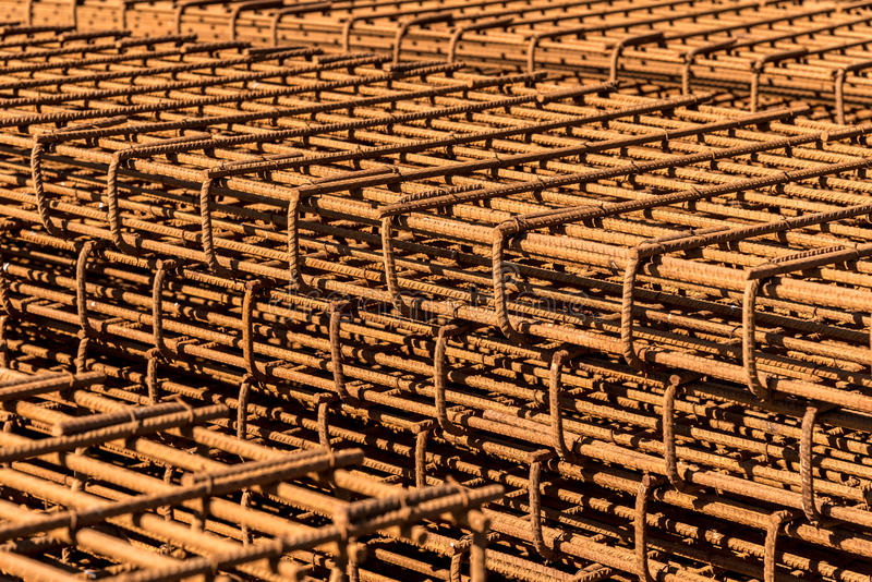 Reinforcing bars. Close view on the steel reinforcing bars stock photo