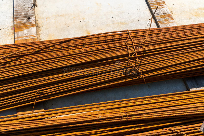 Reinforcing bars. Close view on the steel reinforcing bars stock photos