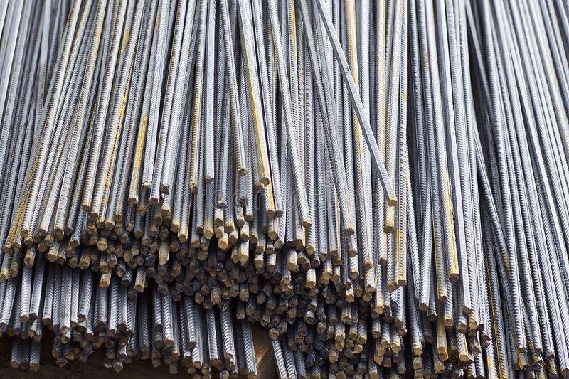 Reinforcing bars with a periodic profile in the packs are stored in the metal products warehouse stock image