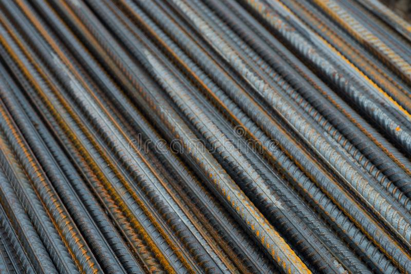 Reinforcing steel bar stack, rebar for concrete construction cl royalty free stock photos
