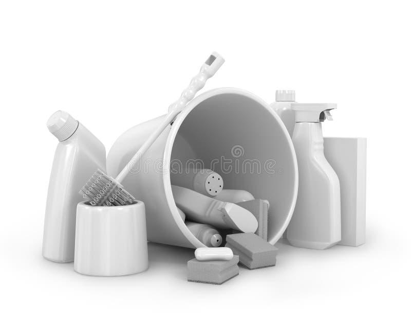Reinigende Flaschen und chemisches Putzzeug lizenzfreie stockbilder