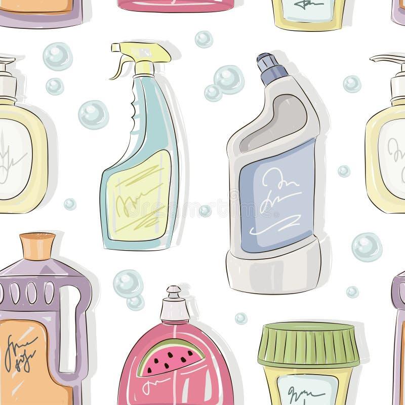 Reinigendes Flaschensammlungsmuster stock abbildung