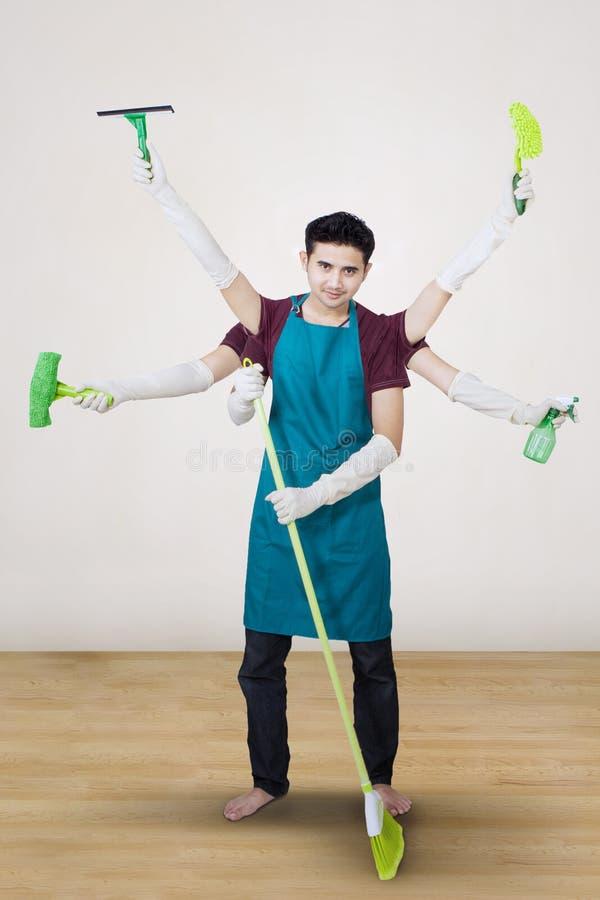 Reiniger mit den multi Händen - Vertikale stock abbildung