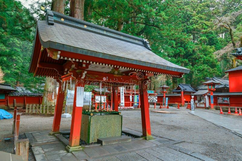 Reinigingsgebied bij het Heiligdom van Nikko Futarasan in Nikko, Japan stock afbeelding