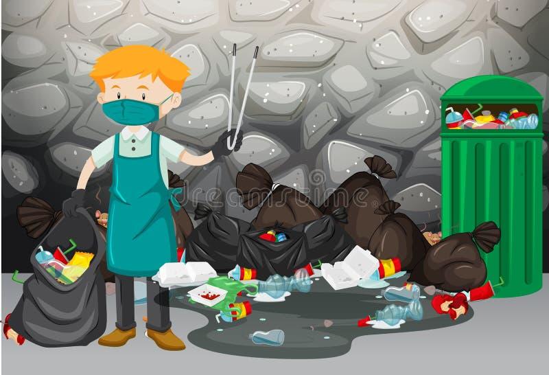 Reinigingsmachine die huisvuil op de vloer schoonmaken royalty-vrije illustratie