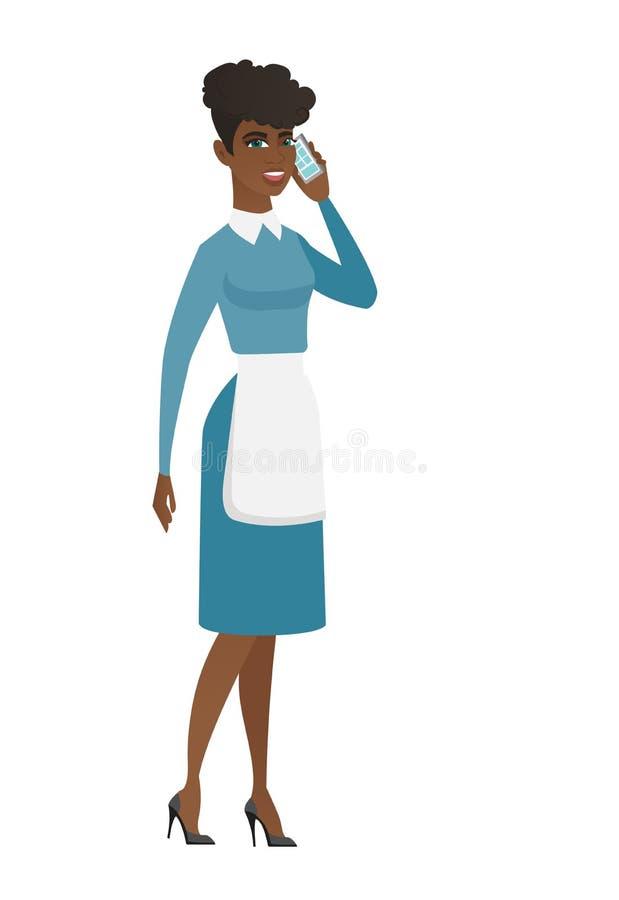 Reinigingsmachine die op een mobiele telefoon spreken royalty-vrije illustratie