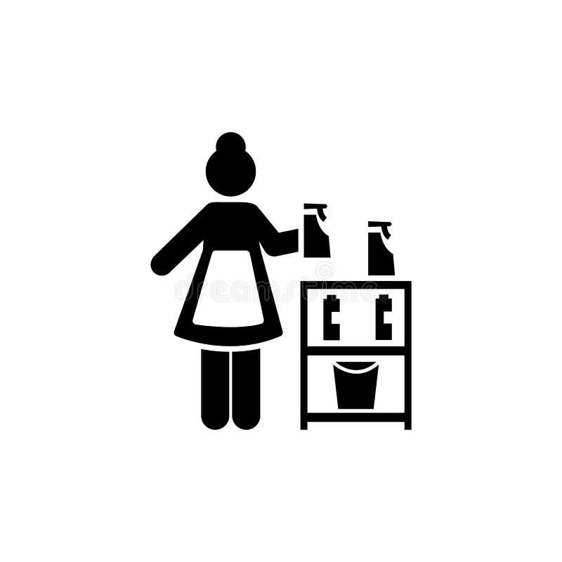 Reinigingsmachine, hotel, de diensten, meisjepictogram Element van het pictogram van het hotelpictogram Grafisch het ontwerppicto royalty-vrije illustratie