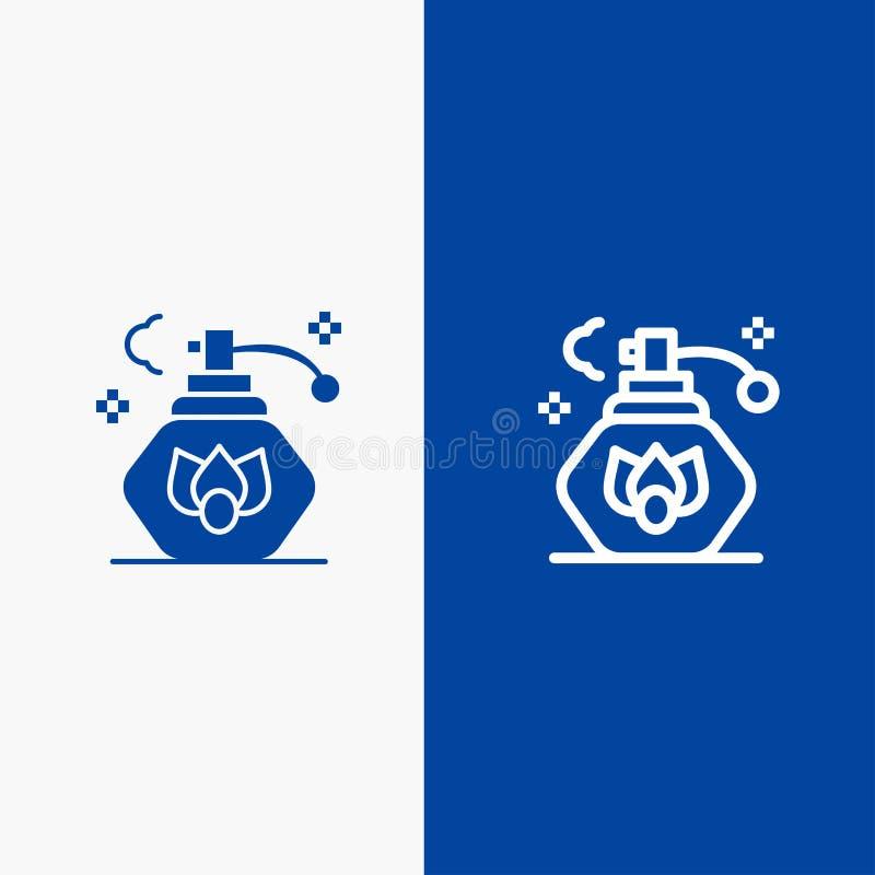 Reinigung, Spray, blaue Fahne der blauen Fahne der sauberen Ikone der Linie und des Glyph festen Ikone Linie und Glyph festen vektor abbildung