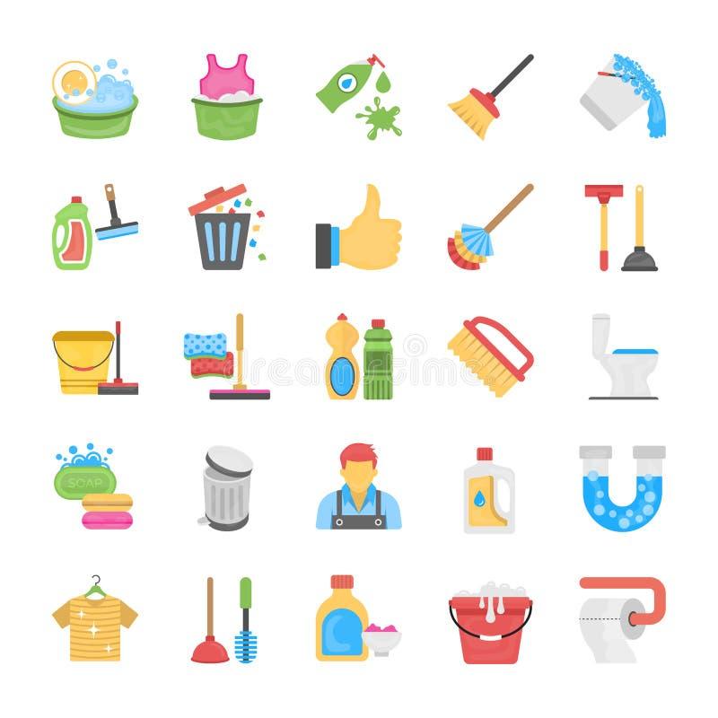 Reinigung und Mädchen Icon Pack lizenzfreie abbildung