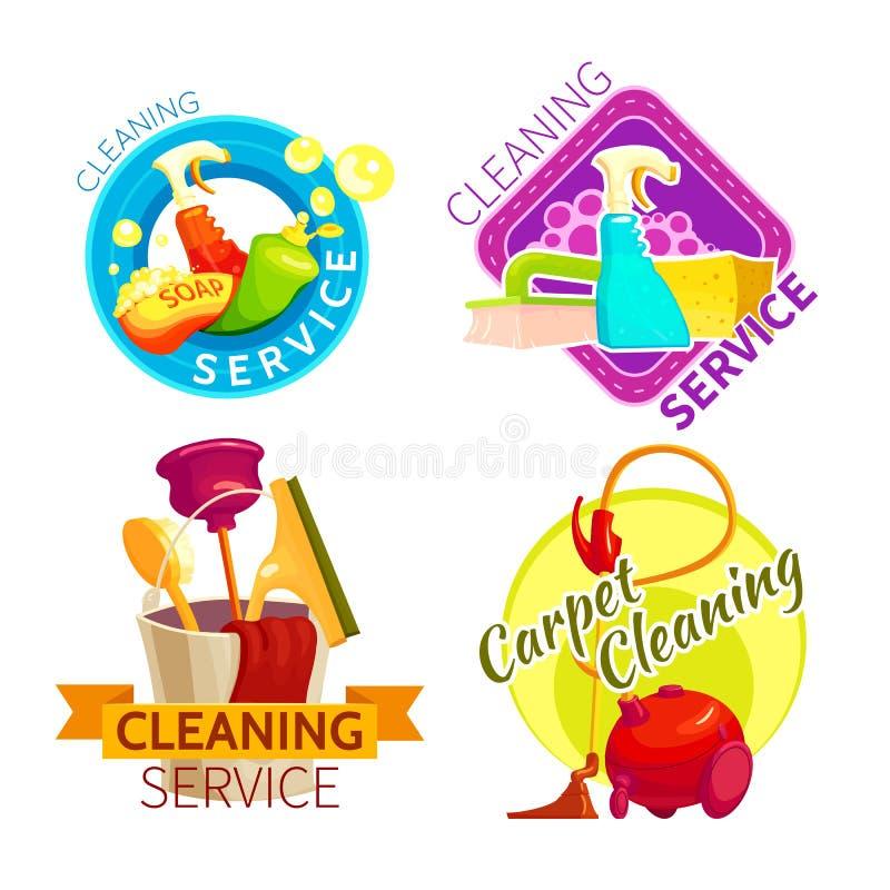 Reinigungs-Service-Ausweis-Satz lizenzfreie abbildung