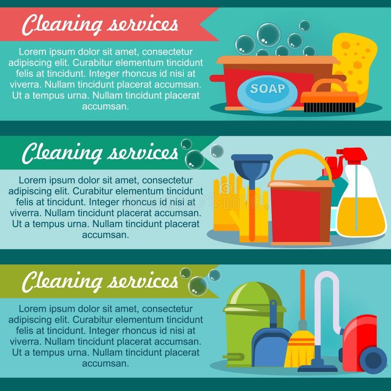 Reinigungs-Service-horizontale Fahnen lizenzfreie abbildung