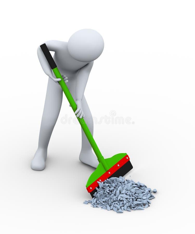 Reinigungsabfall des Mannes 3d mit Wischer lizenzfreie abbildung