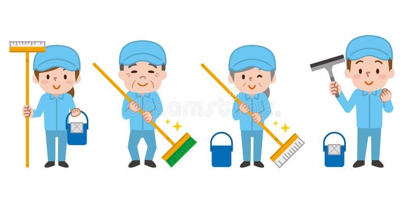 Reinigungsarbeitskr?fte Berufsreinigungspersonal stock abbildung