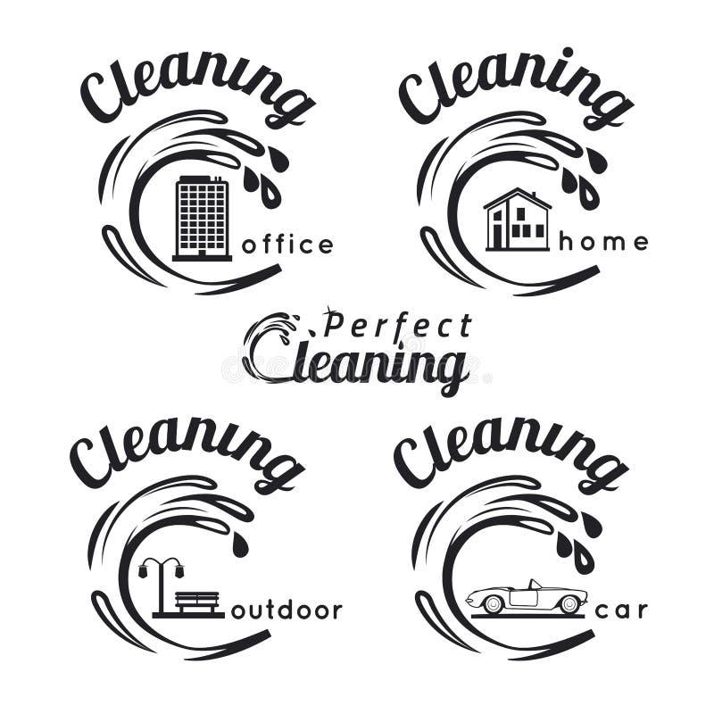 Reinigungsembleme lizenzfreie abbildung