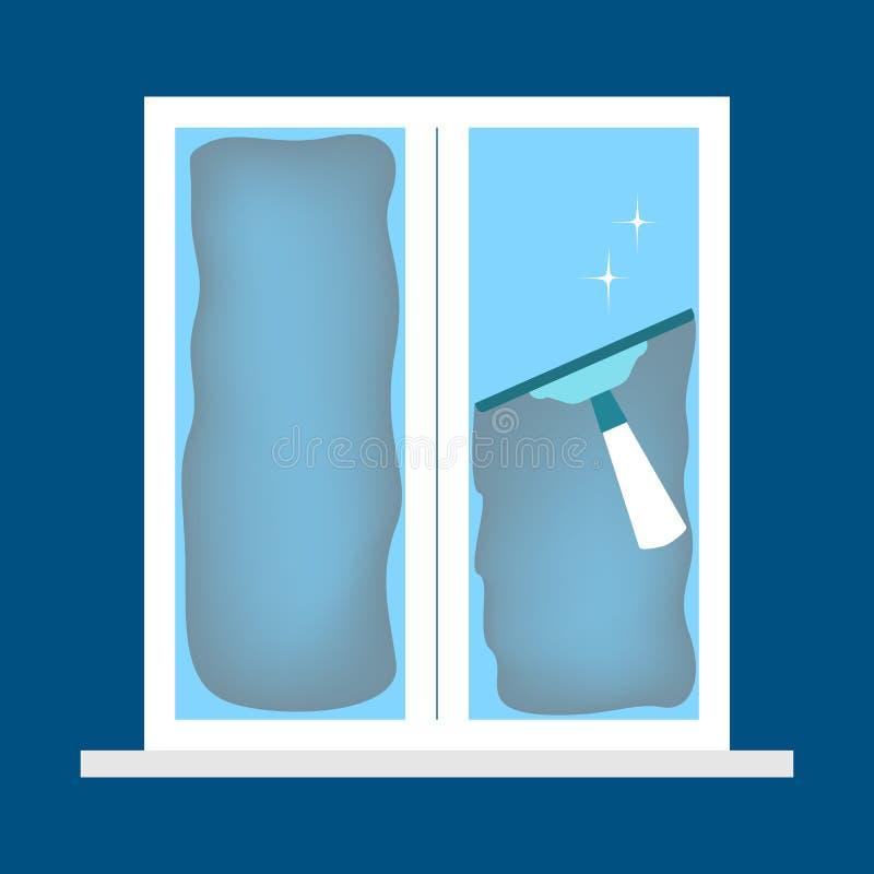 Reinigungsfenster mit einem Wischer Inl?ndische Ausr?stung lizenzfreie abbildung