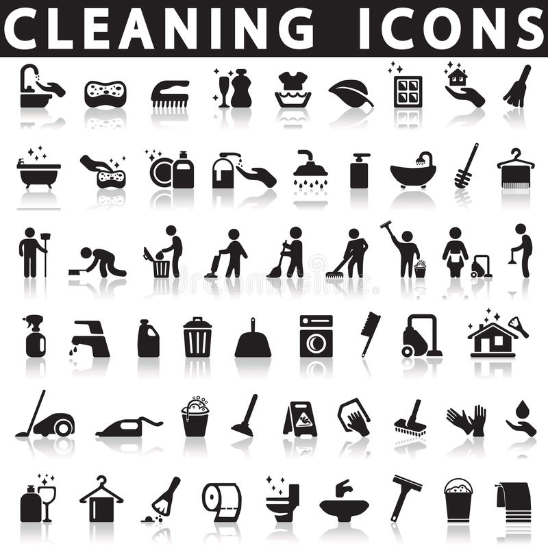 Reinigungsikonen lizenzfreie abbildung