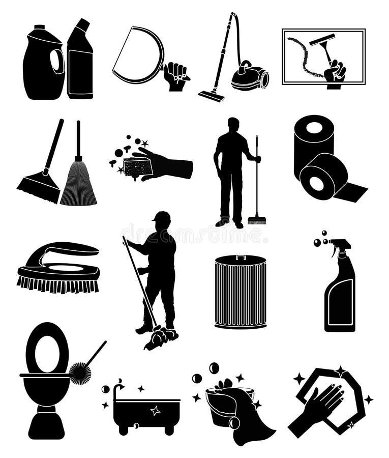 Reinigungsikonen eingestellt lizenzfreie abbildung