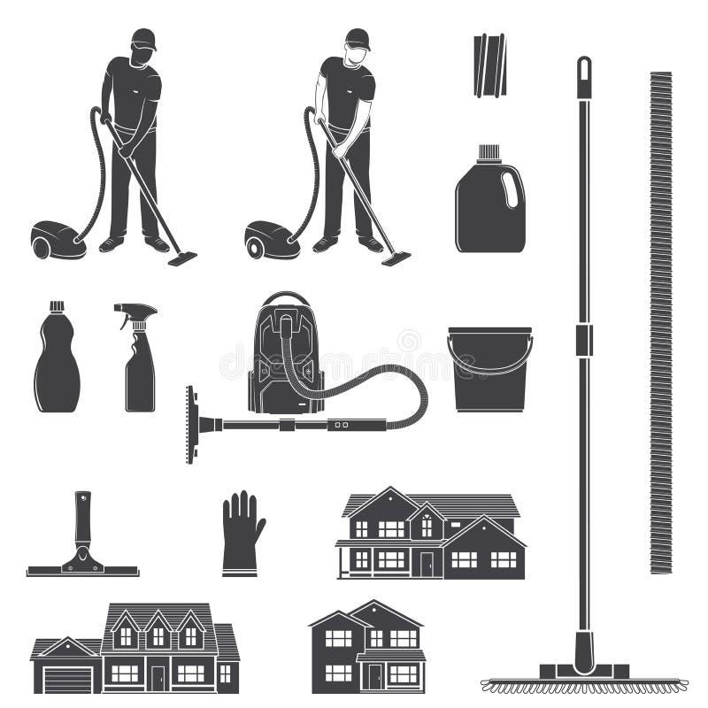 Reinigungsikonenschattenbild für Embleme und Aufkleber Stellen Sie mit.einschließen Mann mit vocuum Reiniger, eguipment, Häuser e stock abbildung