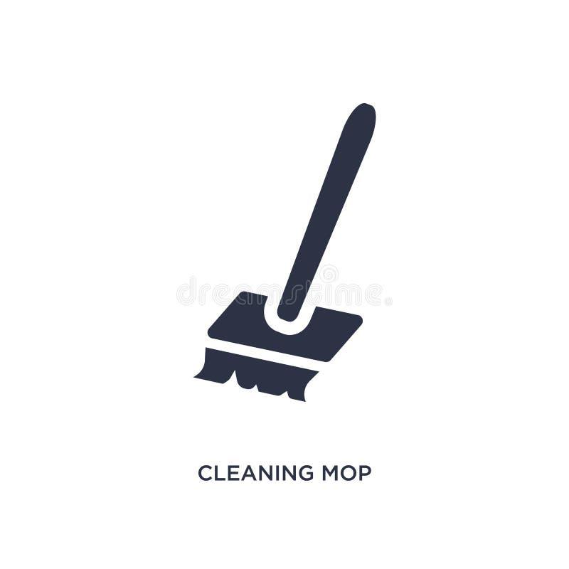Reinigungsmopikone auf weißem Hintergrund Einfache Elementillustration vom Werkzeugkonzept stock abbildung