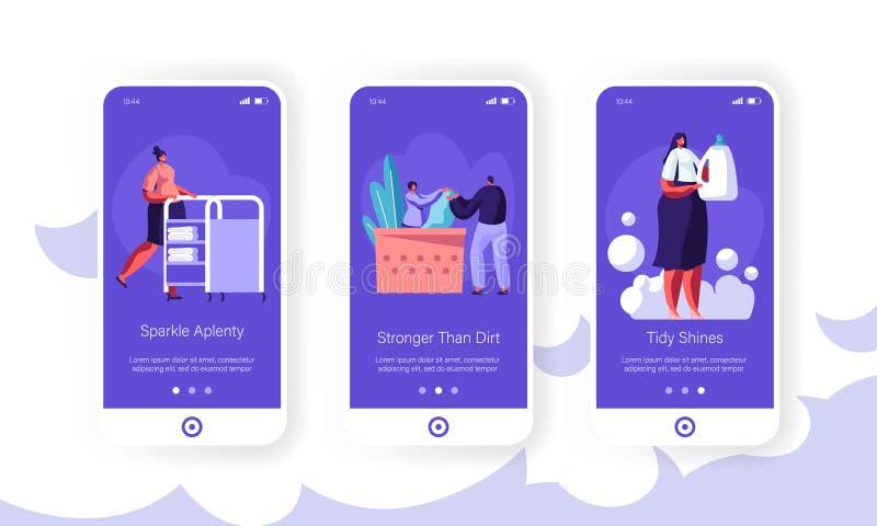 Reinigungsservice bewegliche App-Seite an Bord des Schirm-Satzes Empfangsdame, Arbeitskraft-Stoß-Wagen, Frau mit Reinigungsmittel stock abbildung