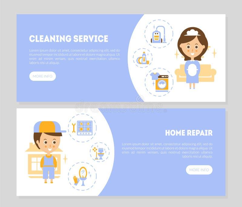 Reinigungsservice, Hauptreparatur-Landung paginiert die gesetzten Schablonen, Mädchen Service, Reinigungsagentur, Wohnungsbau und stock abbildung
