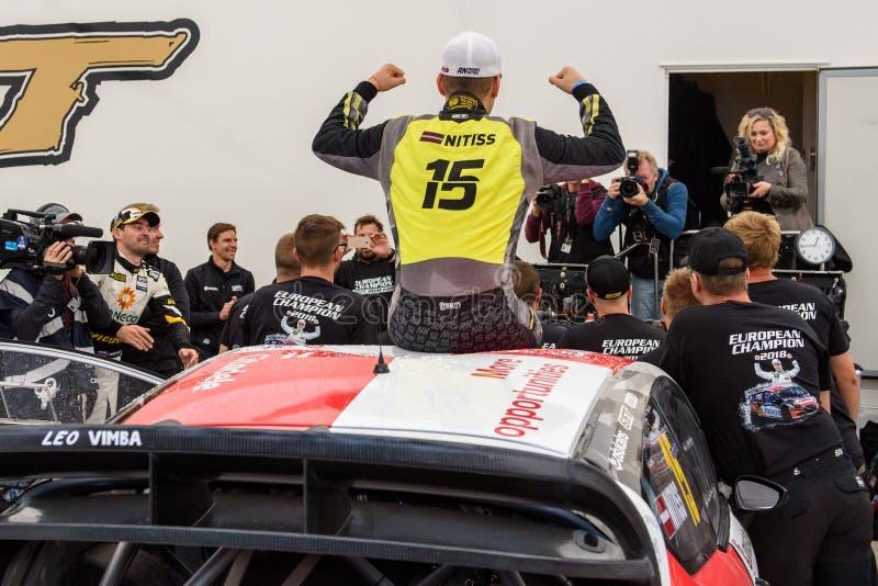 Reinis Nitiss, new European champion of EURO Supercar Rallycross championship. 16.09.2018. RIGA, LATVIA. Reinis Nitiss, new European champion of EURO Supercar royalty free stock photos