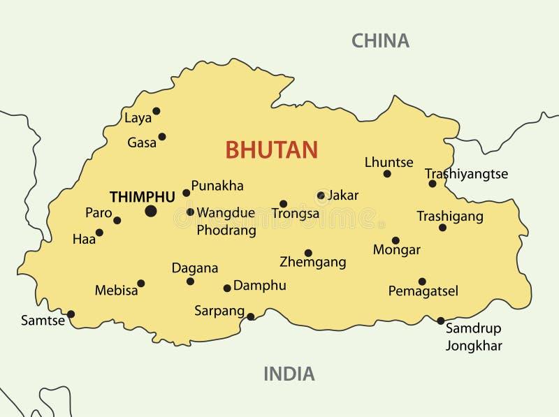 Reino de Bhután - mapa del vector stock de ilustración