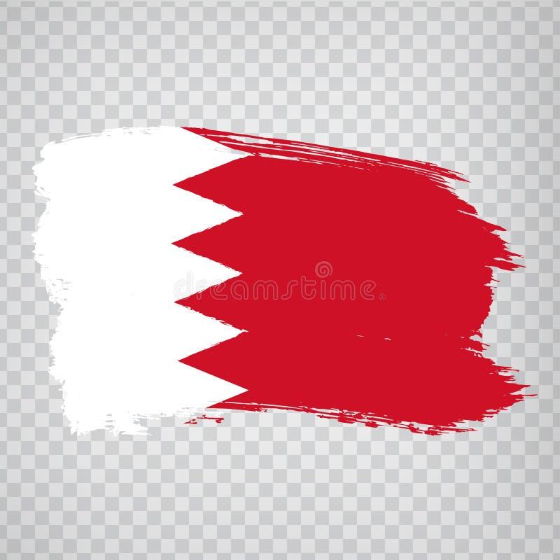 Reino de la bandera de Bahrein de movimientos del cepillo Bandera Bahrein en el fondo transparente para su diseño del sitio web,  ilustración del vector