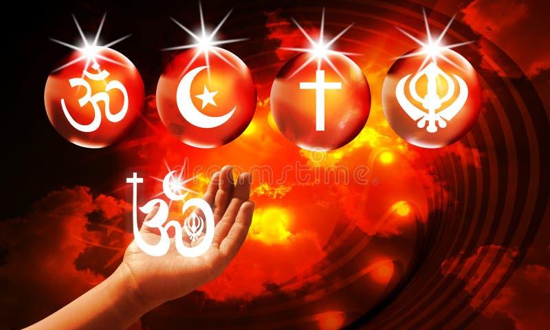 Reino del fondo religioso, relámpagos brillantes en el cielo apocalíptico rojo oscuro, día del Juicio Final libre illustration