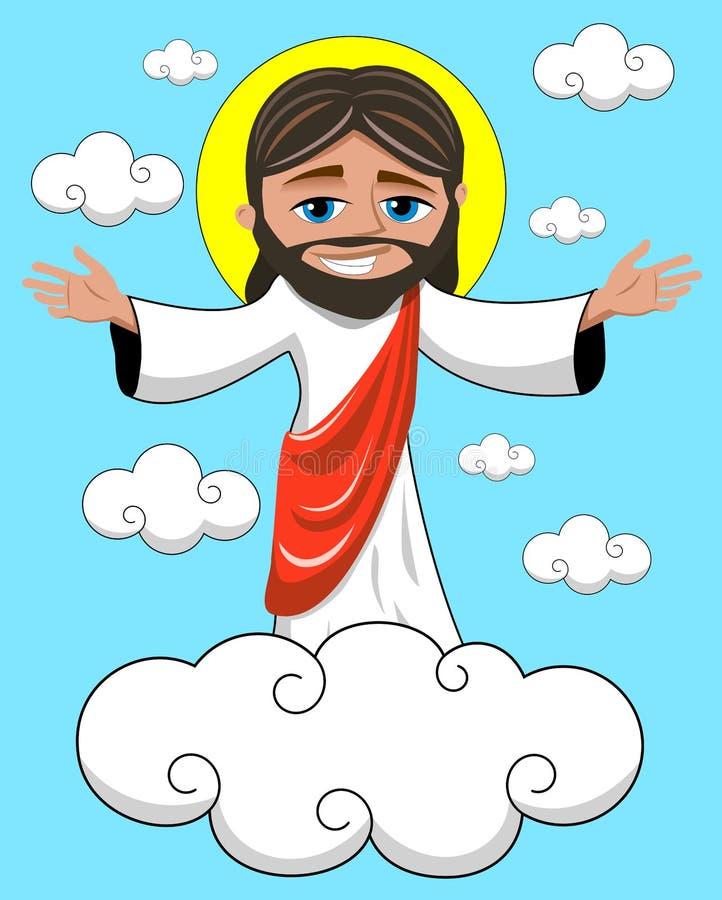 Reino sonriente de Jesus Christ Open Hands Heavenly ilustración del vector