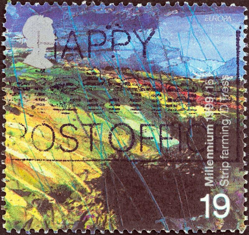 REINO UNIDO - CERCA DE 1999: Um selo impresso em Reino Unido mostra o conto dos fazendeiros, paisagem do Upland, cerca de 1999 fotografia de stock royalty free