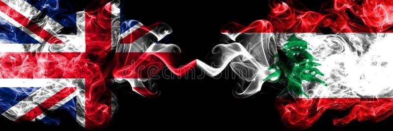 Reino Unido contra Líbano, banderas místicas ahumadas libanesas colocadas de lado a lado r stock de ilustración