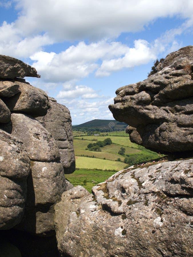 Reino Unido, Dartmoor, Hound Tor imagen de archivo libre de regalías