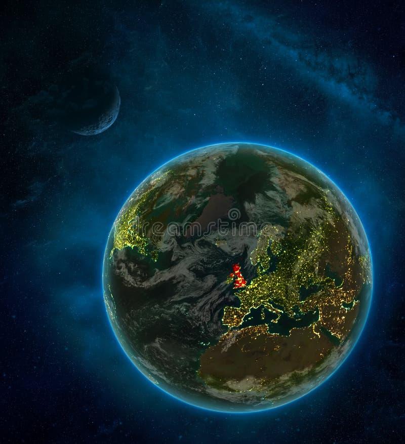 Reino Unido do espaço na terra na noite cercada pelo espaço com lua e Via Látea Planeta detalhado com luzes da cidade e ilustração royalty free
