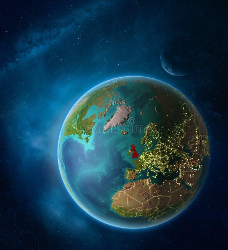 Reino Unido do espaço na terra do planeta ilustração stock