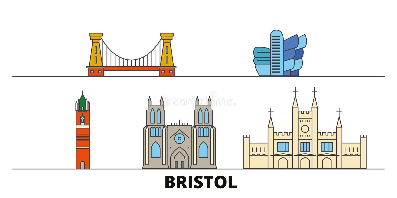 Reino Unido, ejemplo plano del vector de las señales de Bristol Reino Unido, línea ciudad de Bristol con vistas famosas del viaje ilustración del vector
