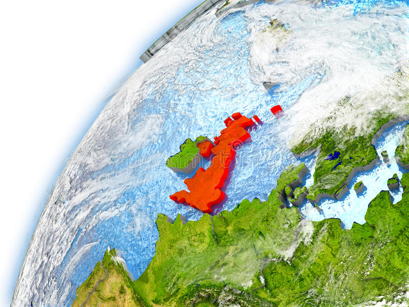 Reino Unido en el modelo de la tierra del planeta ilustración del vector