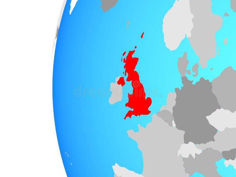 Reino Unido no globo ilustração royalty free
