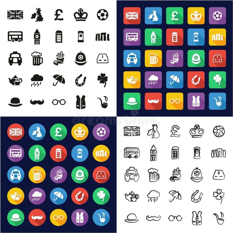 Reino Unido todo en los iconos uno negros y el diseño plano del color blanco fijado a pulso stock de ilustración