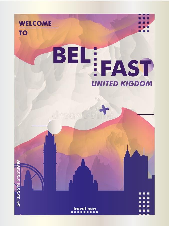 Reino Unido unió el cartel del vector de la pendiente de la ciudad del horizonte de Kigdom Belfast libre illustration