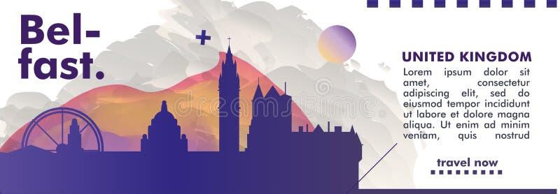 Reino Unido unió la bandera del vector de la pendiente de la ciudad del horizonte de Kigdom Belfast stock de ilustración