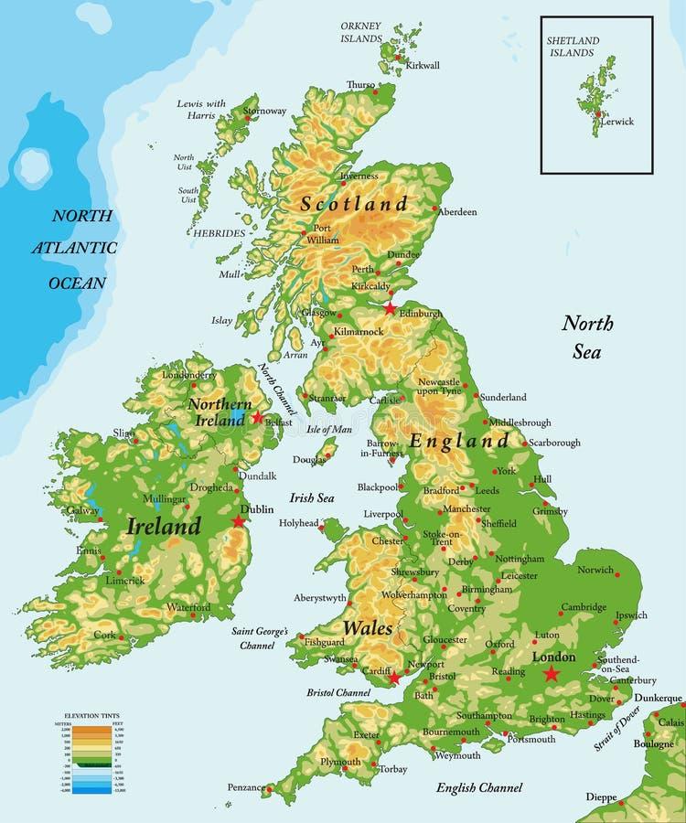 Reino Unido y mapa Irlanda-físico ilustración del vector