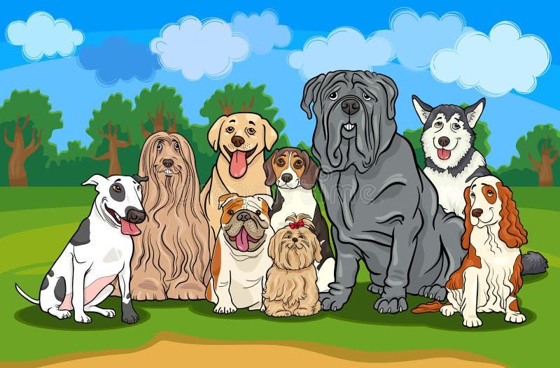 Reinrassige Hundegruppen-Karikaturabbildung lizenzfreie abbildung