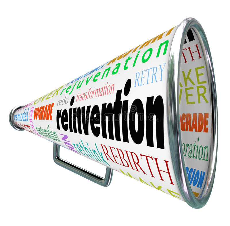 Reinvention Bullhorn Megaphone Redo Restart Rebuild. Reinvention and related words like restart, rebuild, redo, retry, revitalize and rejuvenation on a bullhorn stock illustration