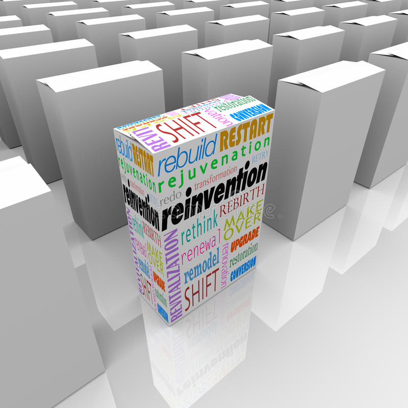 Reinvention One New Product Box Best Competitive Advantage stock illustration