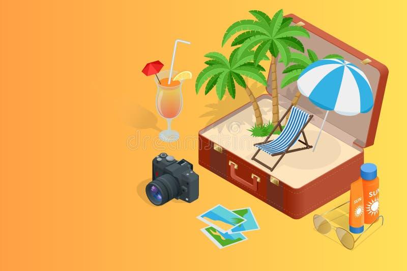 Reis aan de Zomervakantie Reis naar de Zomervakantie Vakantie Blauwe hemel en auto toerisme Reisbanner Open koffer met vector illustratie