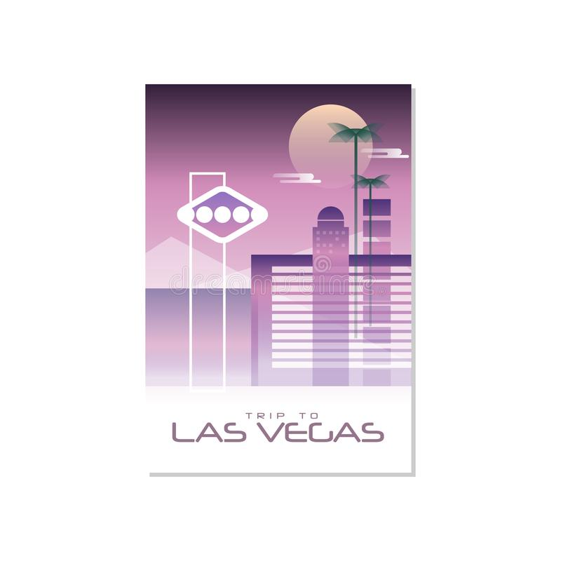 Reis aan Las Vegas, het malplaatje van de reisaffiche, toeristische groetkaart, vectorillustratie voor tijdschrift, presentatie royalty-vrije illustratie