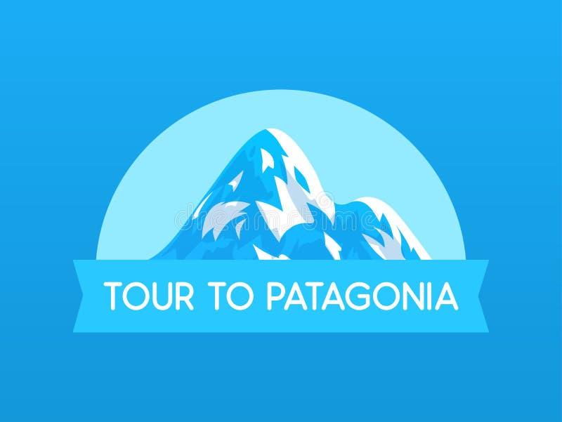 Reis aan Patagonië, vectorembleemillustratie met Berg van reis in Zuid-Amerika in Chili en Peru royalty-vrije illustratie