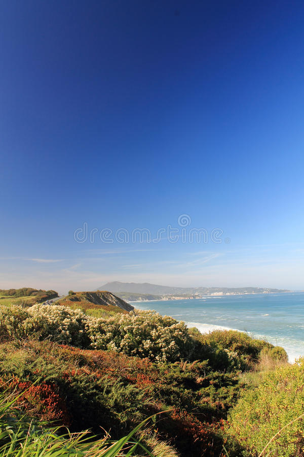 reis aan toneel Atlantisch kustlandschap in Baskisch land, Frankrijk royalty-vrije stock foto